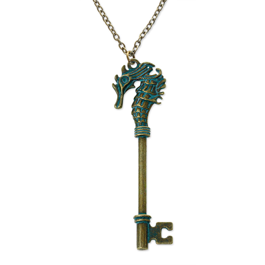 Unlock the spirits of the sea with this enchanted seahorse key necklace!