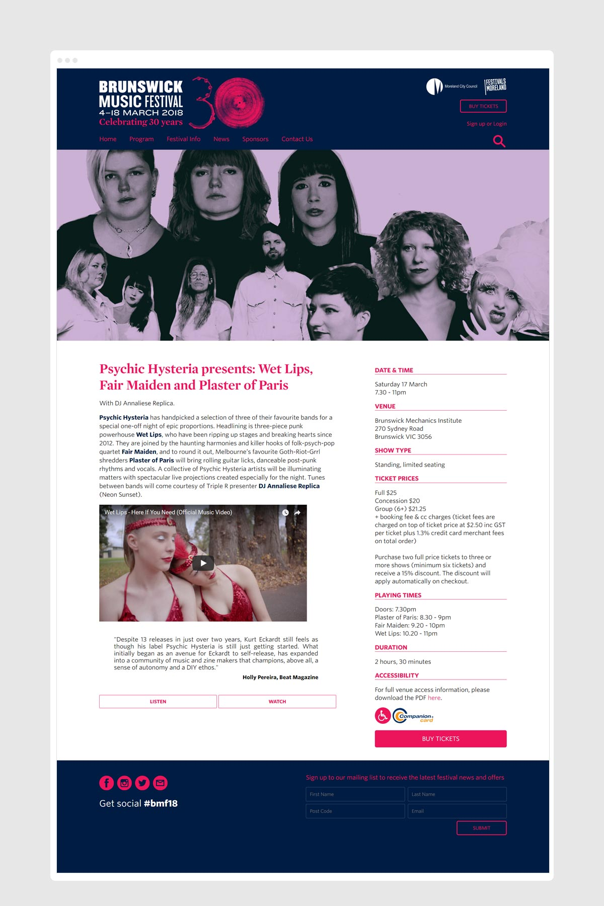 Photo of Brunswick Music Festival website program page