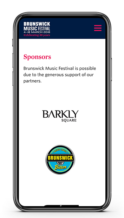 Photo of mobile showing Brunswick Music Festival website sponsors
