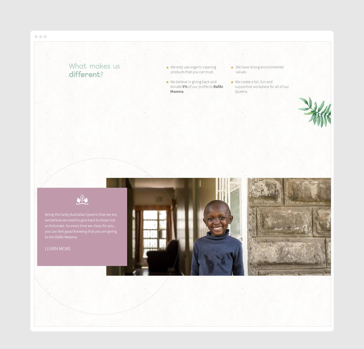 Photo showing EcoQueens website bottom homepage