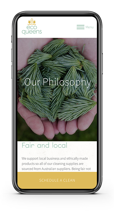 Photo of mobile showing EcoQueens website philosophy page