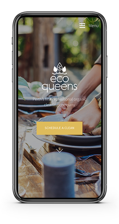 Photo of mobile showing EcoQueens website homepage