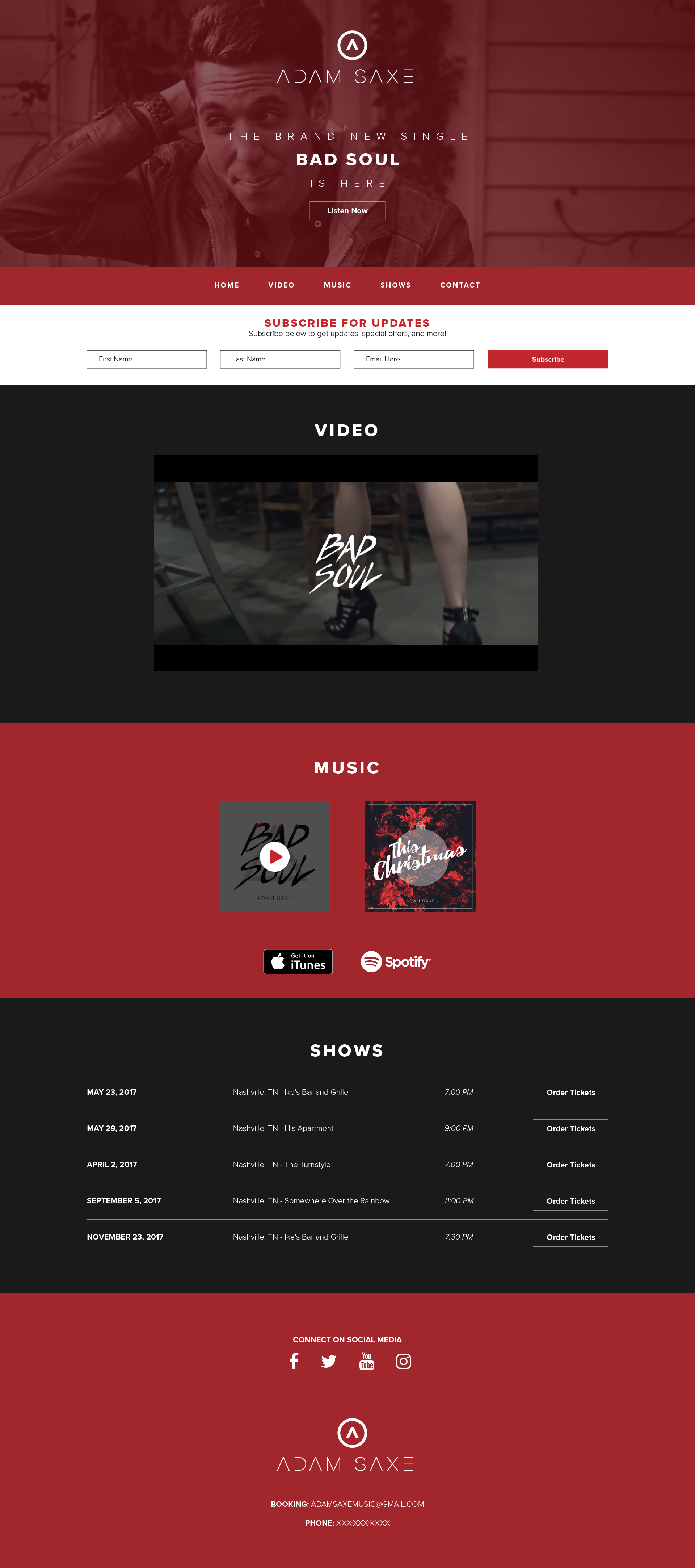 Adam Saxe Nashville Recording Artist Website Design K. Karnes Designs