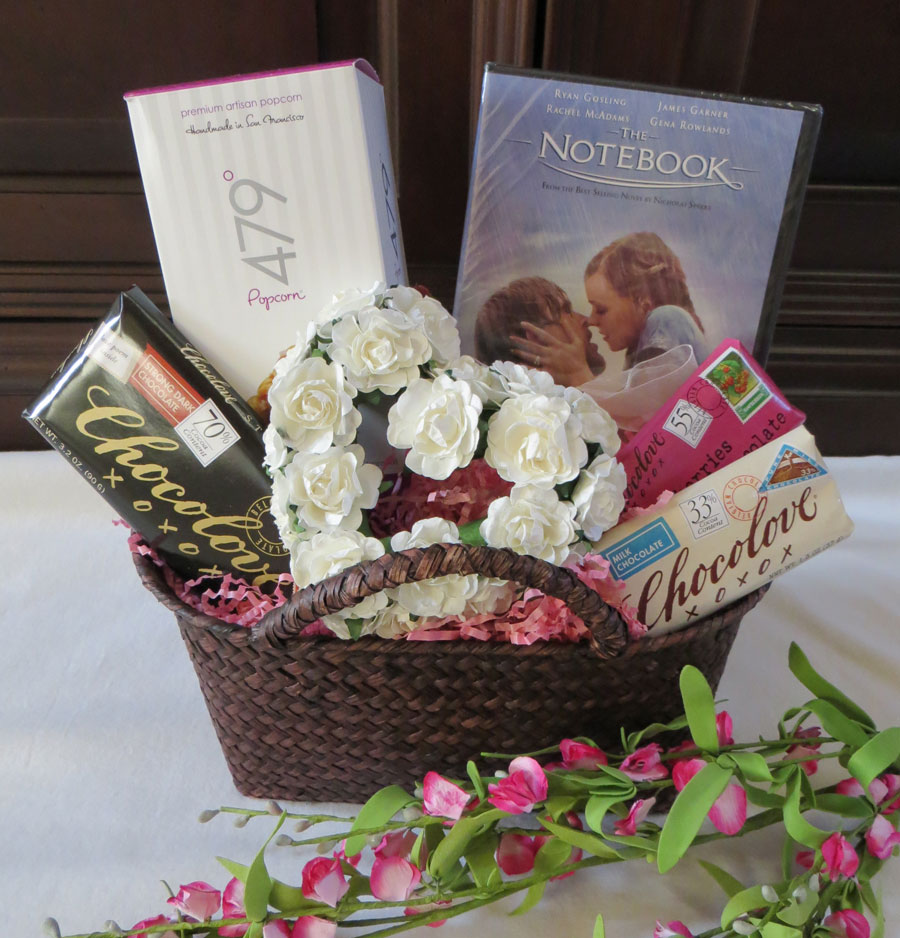 Valentine Gift Basket, Romantic Valentine Gift, Unique Gift Basket, Romantic Valentine Gift Basket, movie gift idea, movie basket, movie gift