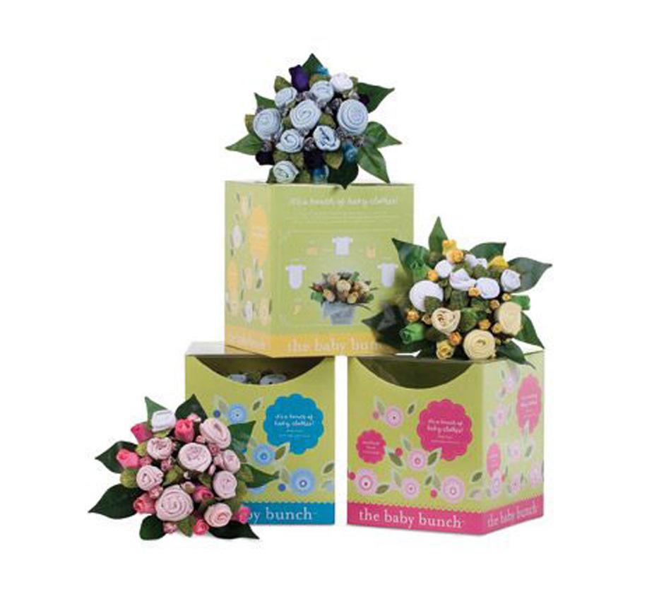 pink bunch bouquet, yellow bunch bouquet, clothes bouquet, blue bunch bouquet, baby boy gift, unique baby gift, flower bouquet baby gift