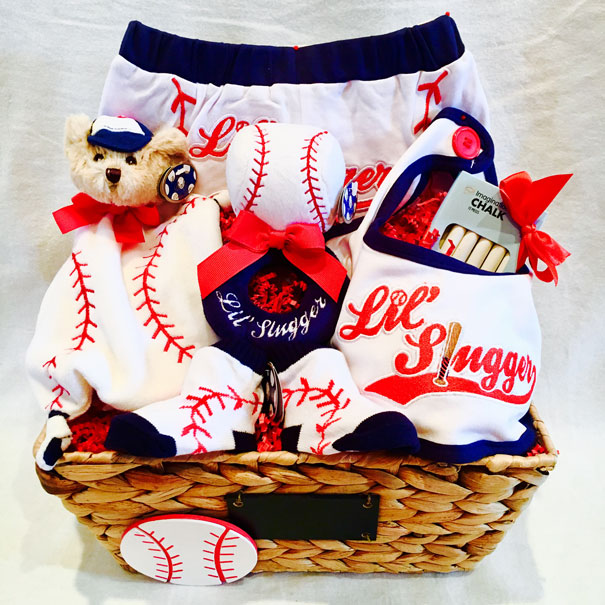 baby basket, baby baskets for birthday, lil slugger basket, baby boy gift basket, baseball gift basket, baseball gift ideas