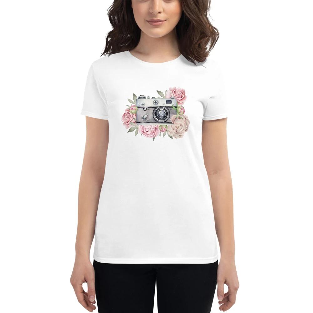 Aquarel camera - Wit T-shirt met korte mouwen, dames