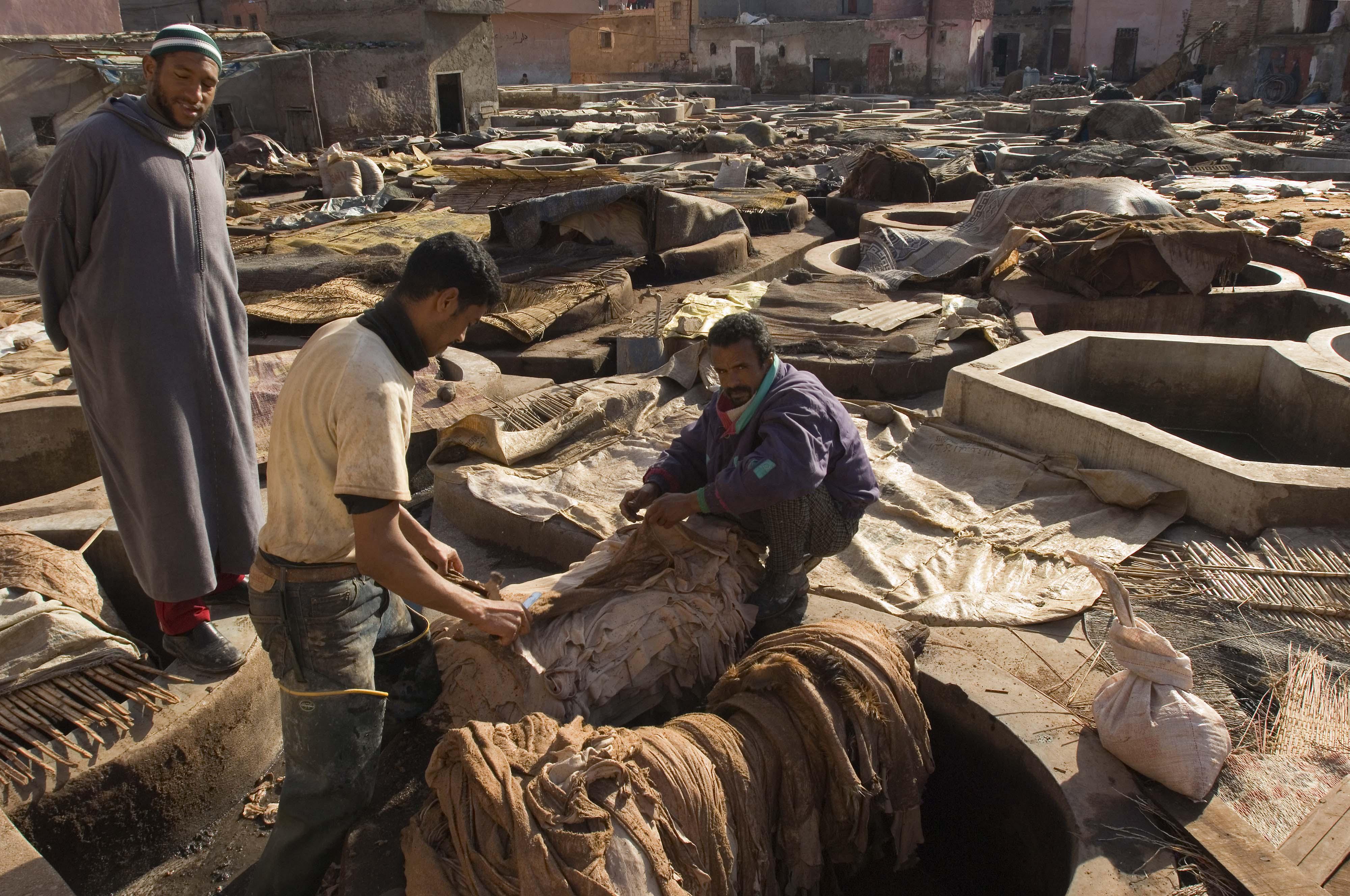 foto van leerfabriek in Marokko