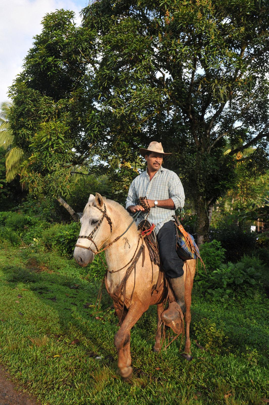 foto van een man met snor op een paard met een cowboyhoed op met een boom op achtergrond