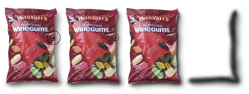 foto van zakje winegums waar schaduwen onder gezet worden in Photoshop
