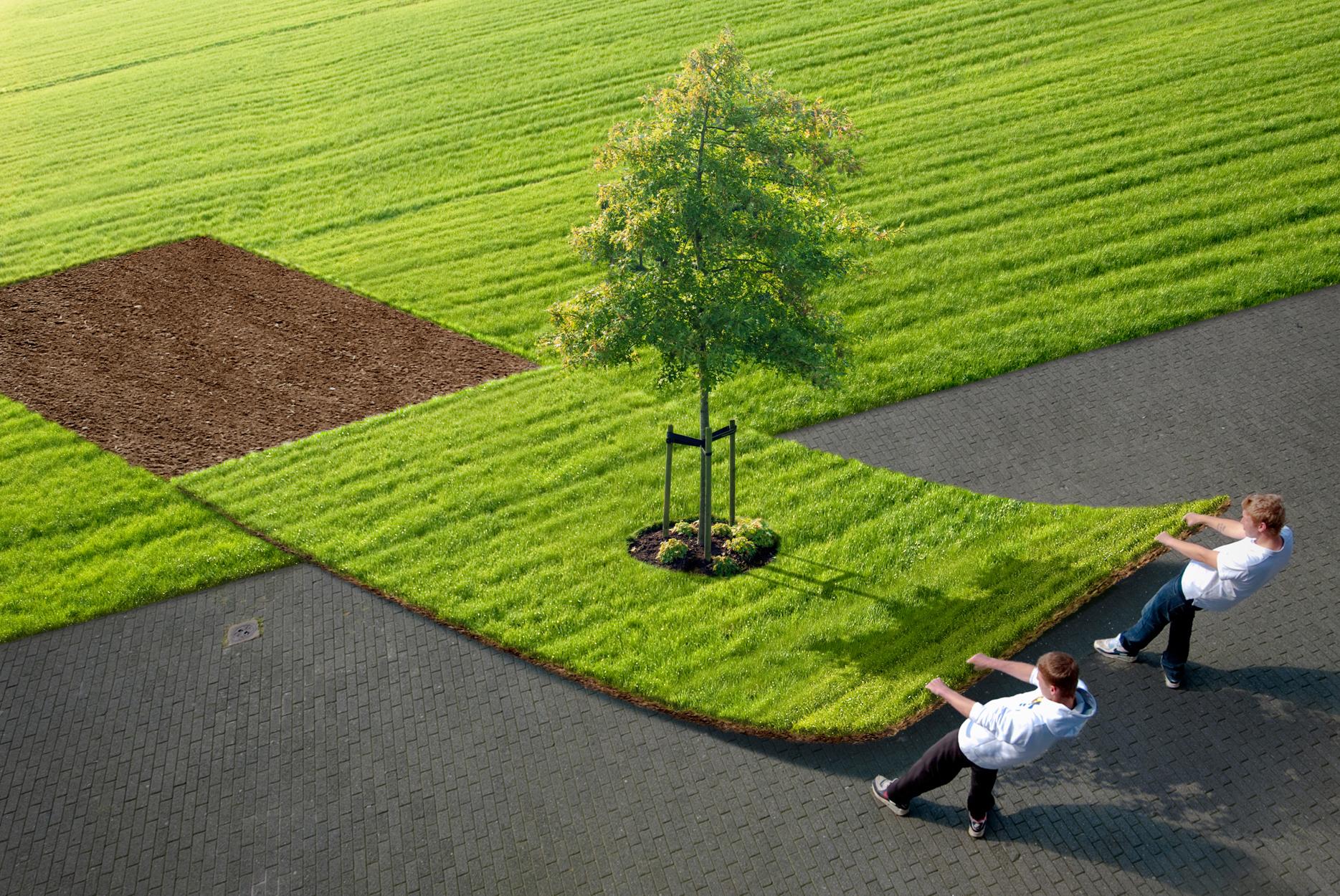 foto van twee mannen die een afgesneden strook gras met een boom erop opzij trekken door Theo de Witte