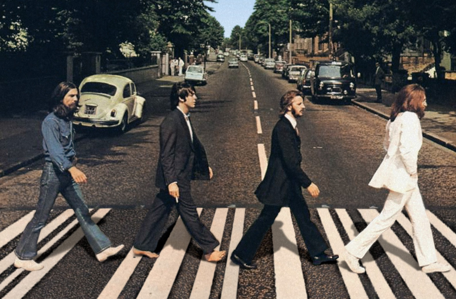 foto van The Beatles op Abbey Road