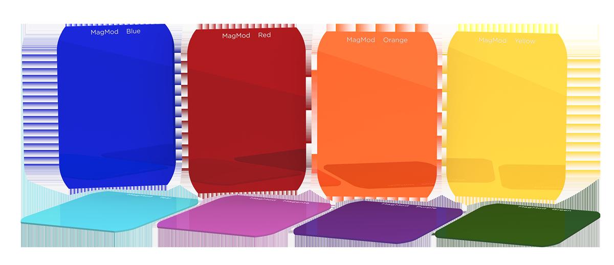 foto van verschillende kleuren Magmods naast elkaar