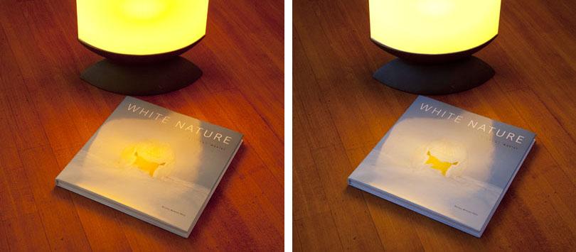 foto lamp en dvd op tafel, Links: Automatische witbalans, rechts: Witbalans met Expodisc. Beide opnamen diafragma F11, sluitertijd 1,3 S In deze opnamen is kunstlicht en daglicht gecombineerd.