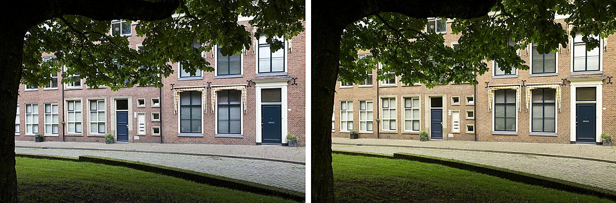 foto van straat in bocht met huizen achter boomgebladerte, Links: Automatische witbalans, rechts: Witbalans met Expodisc. Beide opnamen diafragma F11, sluitertijd 1/50 S.
