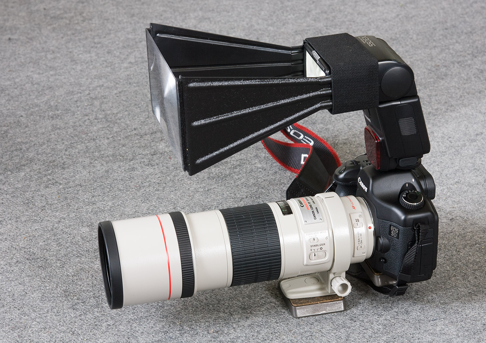 foto van Canon 5D, 550EX met een BetterBeamer