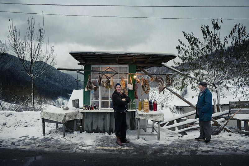 foto van Marcel Molle van viskraam in sneeuwlandschap