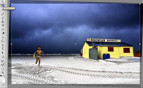 uitsnede in Photoshop van foto met scheve horizon recht gezet