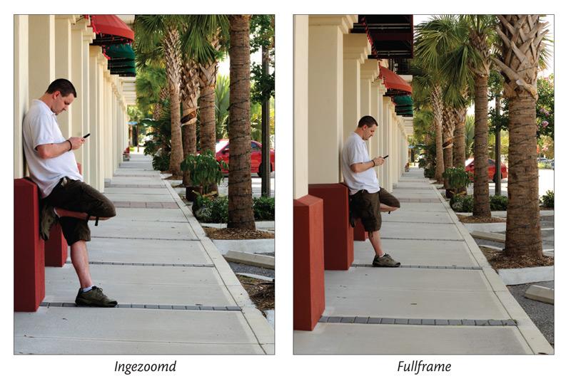 twee dezelfde foto's naast elkaar van man in straat die tegen gevel leunt, ingezoomd en fullframe