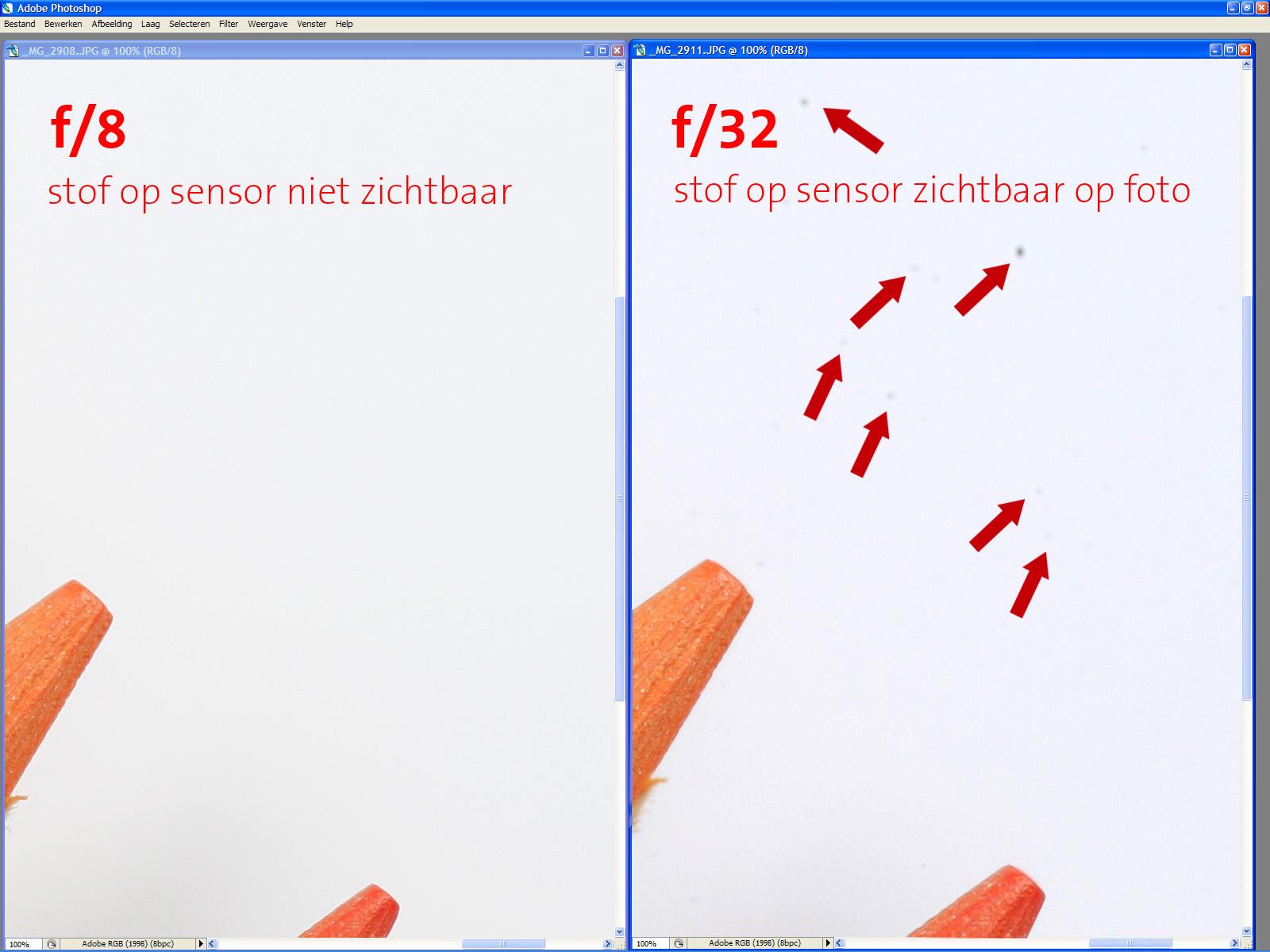plaatje van stof op de sensor niet zichtbaar en wel zichtbaar