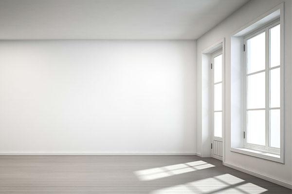 lege kamer met twee ramen met lichtinval