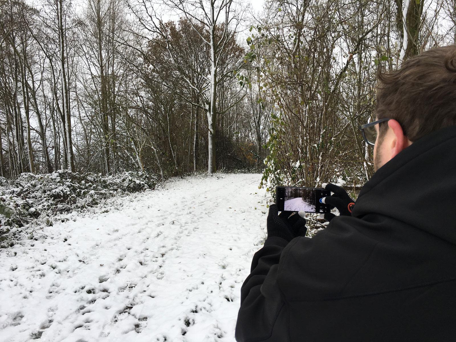 foto maken buiten in sneeuw