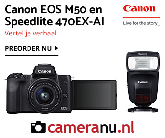 Canon Speedlite 470EX-AI flitser en EOS M50 systeemcamera bij cameraNU