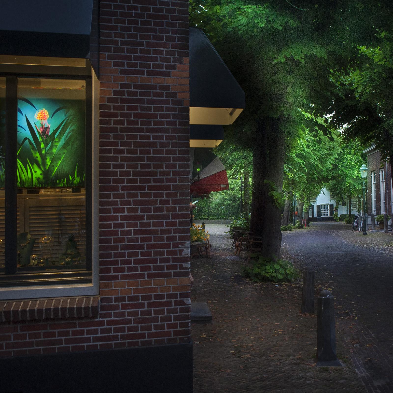foto: ©Jan van der Horn - lichtbak bij mevrouw van Oel, op de Voorstraat, vlak bij Museum Voorschoten
