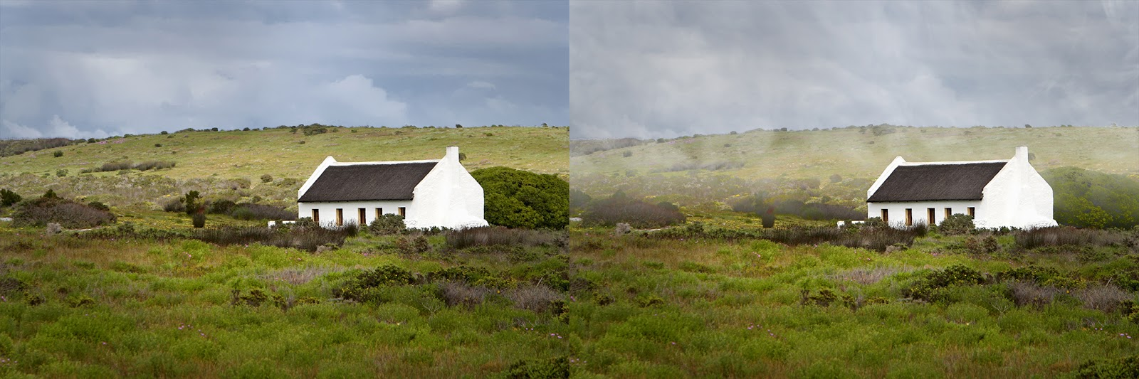 foto van twee beelden van huis in landschap bewerking in LandscapePro 3