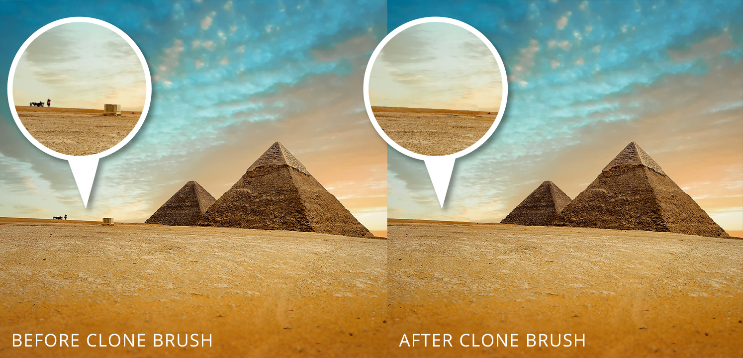 foto van twee beelden van pyramiden in woestijn bewerking in LandscapePro 3