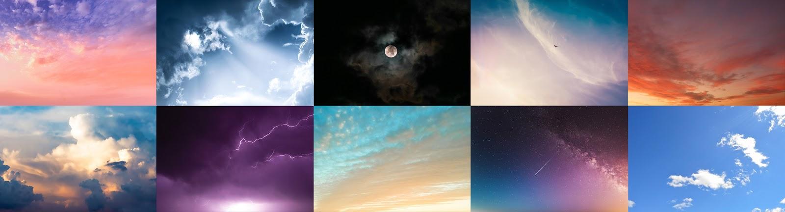 foto van tien beelden van luchten voor bewerking in LandscapePro 3