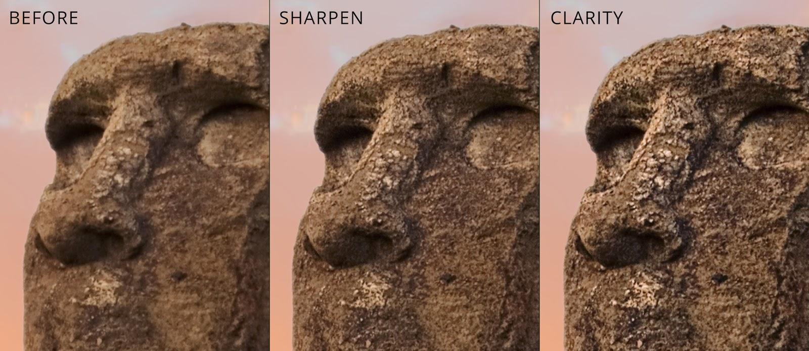foto van drie beelden van beeldgehouwen gezichten voorbeeld bewerking in LandscapePro 3