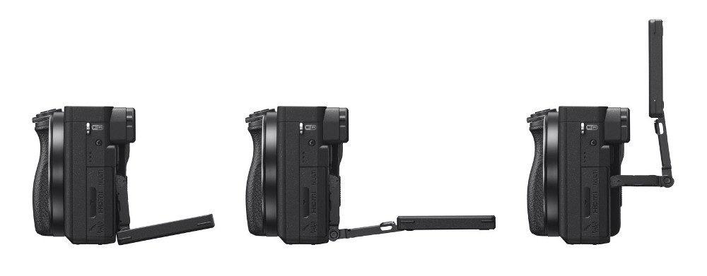 foto van 3 keer een Sony Alpha A6400 zijkant