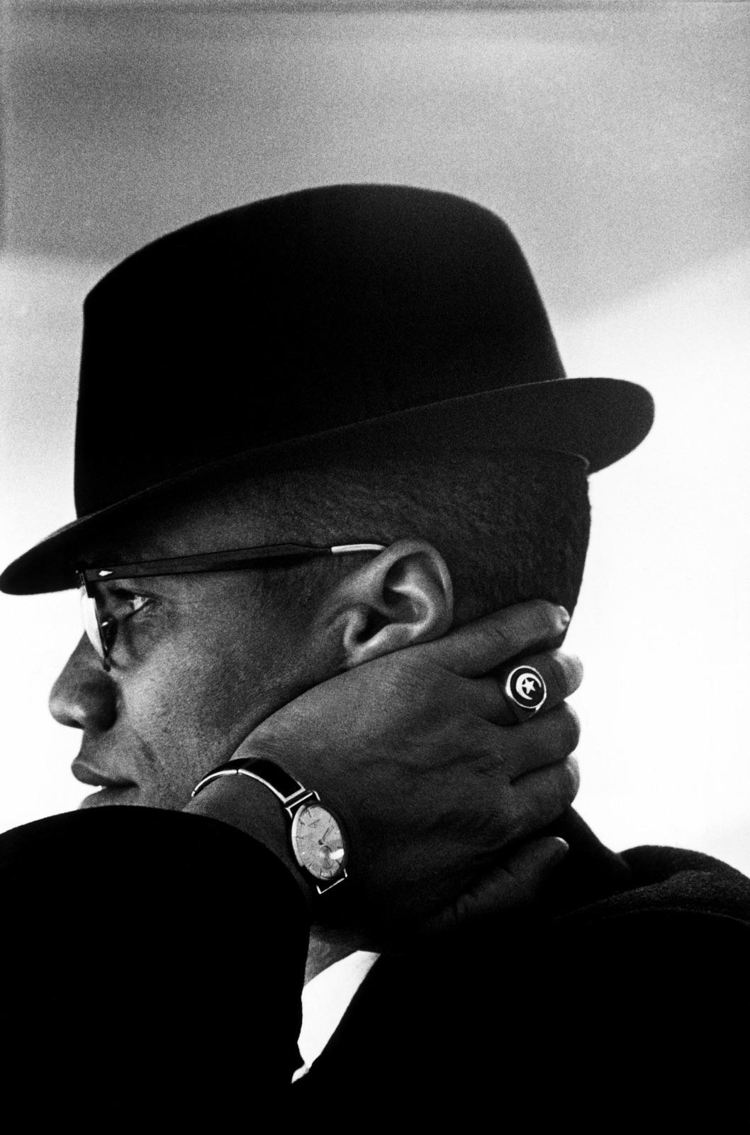foto van Malcolm X door Eve Arnold, zwartwit portret