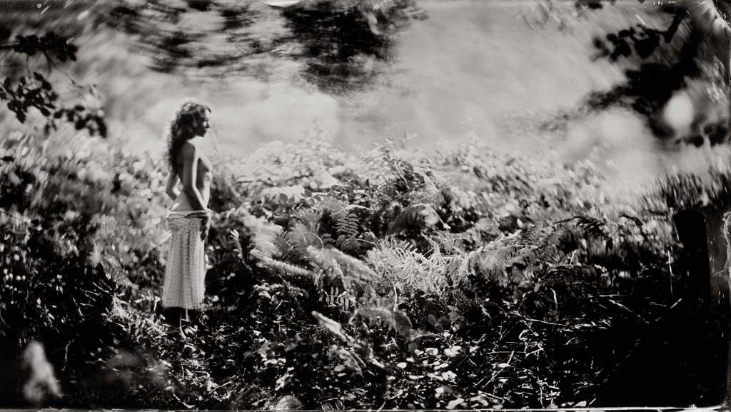 zwartwit foto van vrouw halfnaakt in bos met varens