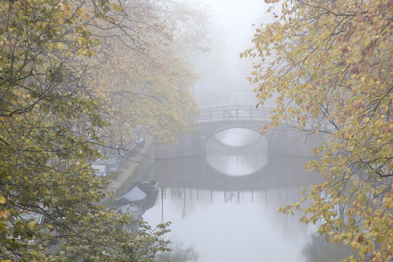Amsterdamse gracht met herfstbonen van fotograaf Ewout Huibers