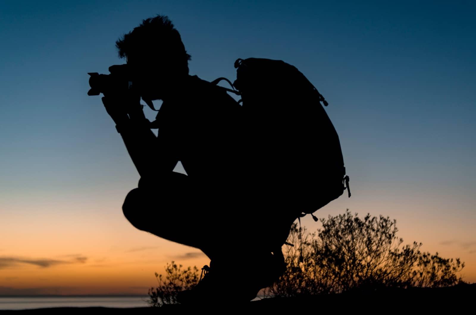 fotograaf in silhouet