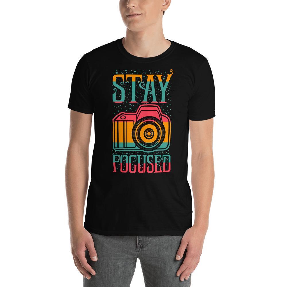Fotografie cadeau: T-shirt met korte mouwen bedrukt met Stay Focused