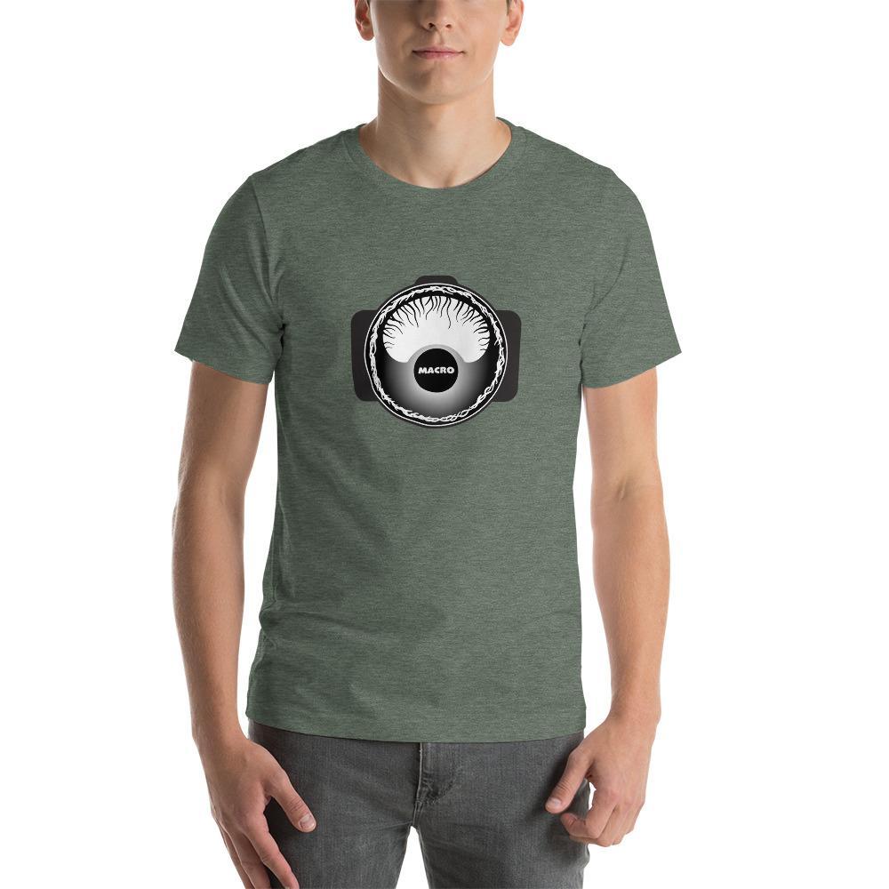 Fotografie cadeau: T-shirt met korte mouwen bedrukt met camera macro fotografie