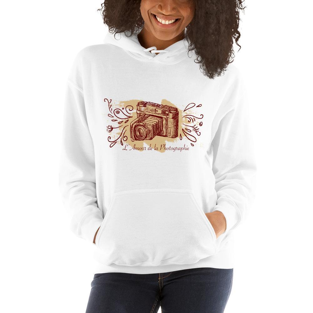 Fotografie cadeau: hoodie bedrukt met L'Amour de la Photographie en camera voor dames