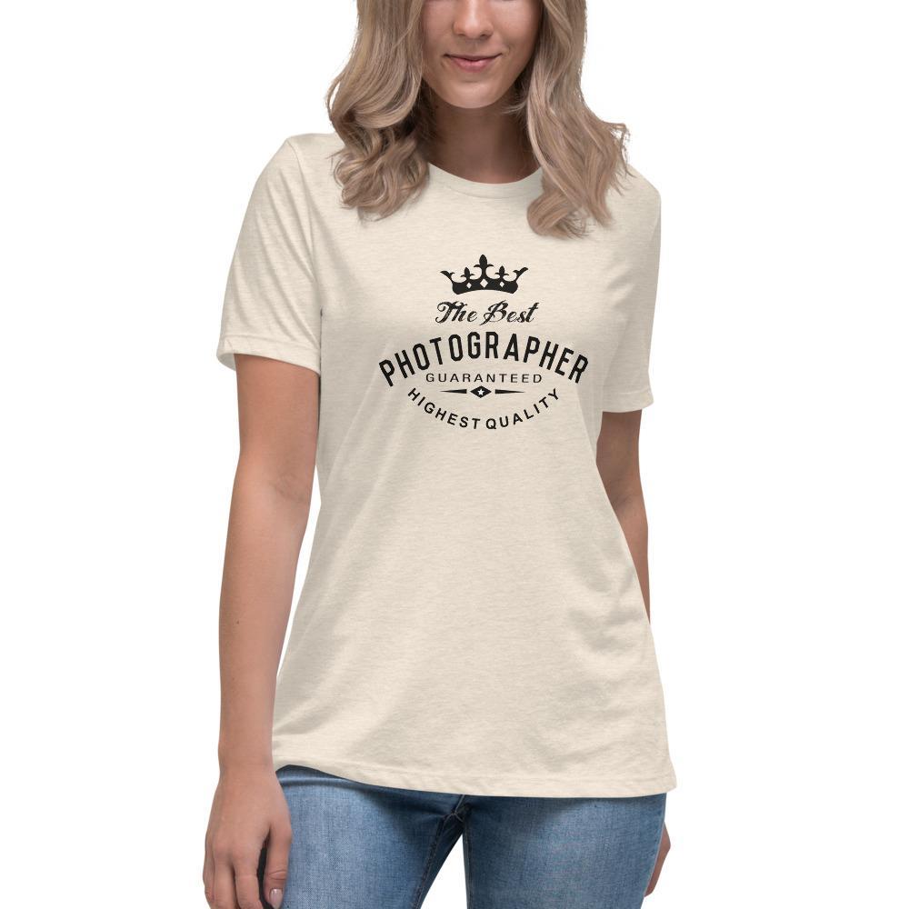 Fotografie cadeau: T-shirt met korte mouwen bedrukt met tekst Best Photographer guaranteed
