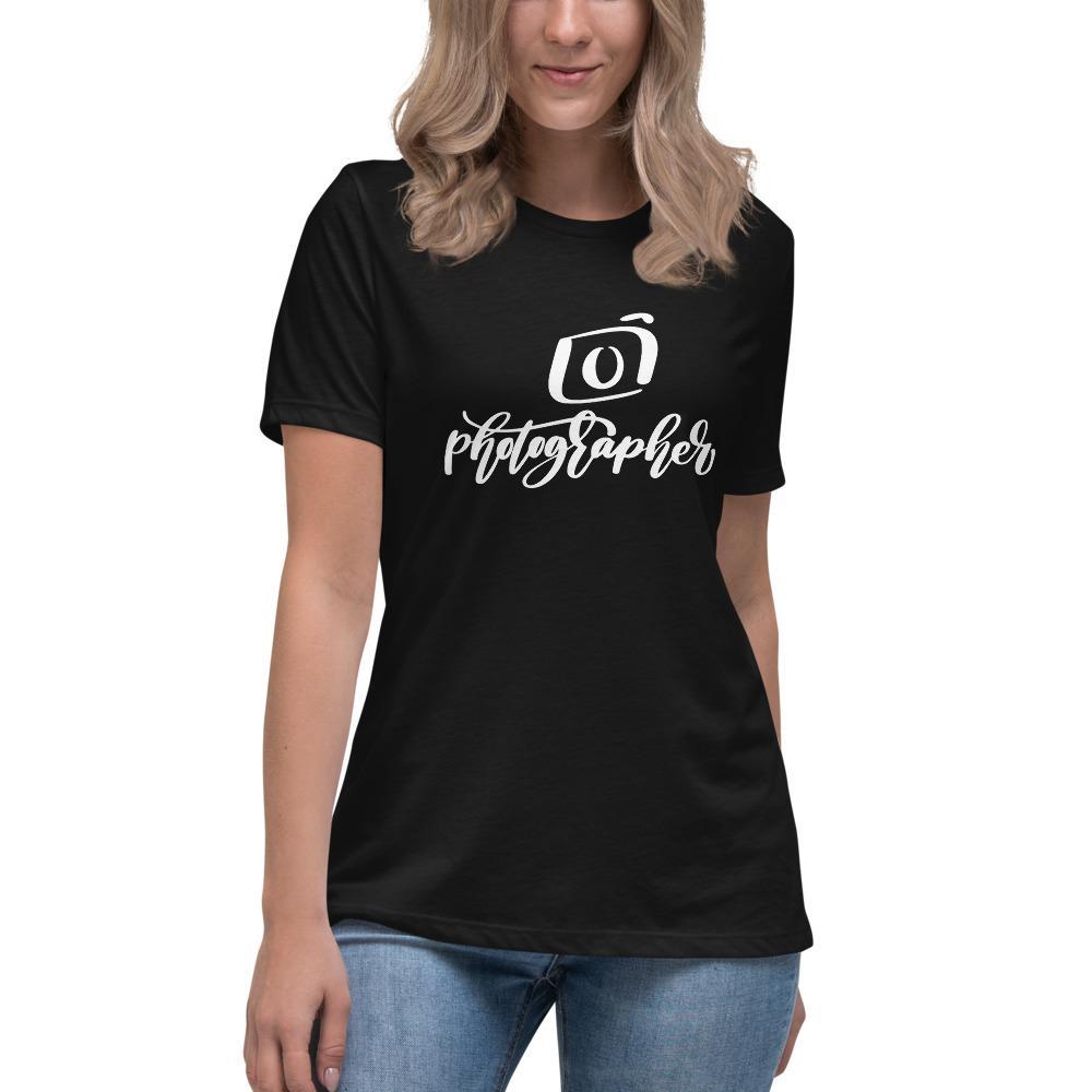 Fotograaf T-shirt cadeau: T-shirt met korte mouwen voor dames bedrukt met Photographer en camera