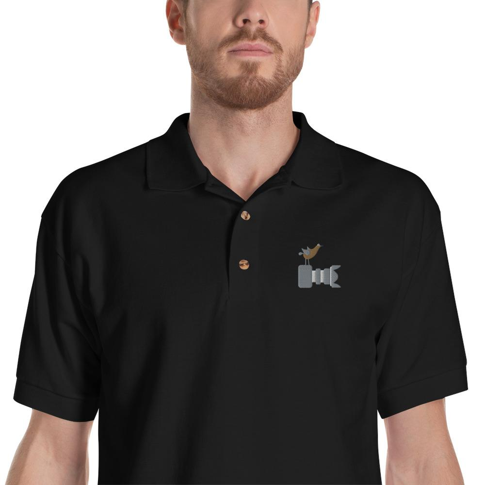 Fotograaf T-shirt cadeau: T-shirt met korte mouwen geborduurd met Vogel Fotograaf