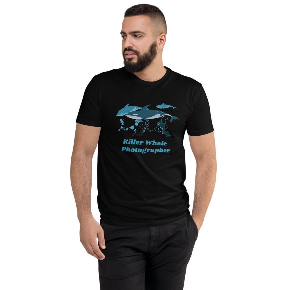 Fotografie cadeau: T-shirt met korte mouwen bedrukt met tekst Killer Whale Photographer