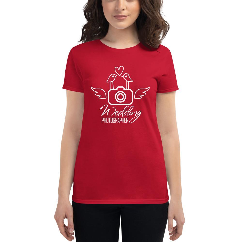 Fotografie cadeau: T-shirt met korte mouwen bedrukt met camera en Lovebirds voor Trouwfotograaf