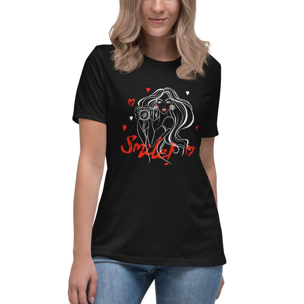 Fotografie cadeau: T-shirt met korte mouwen bedrukt met camera en dame en tekst Smile