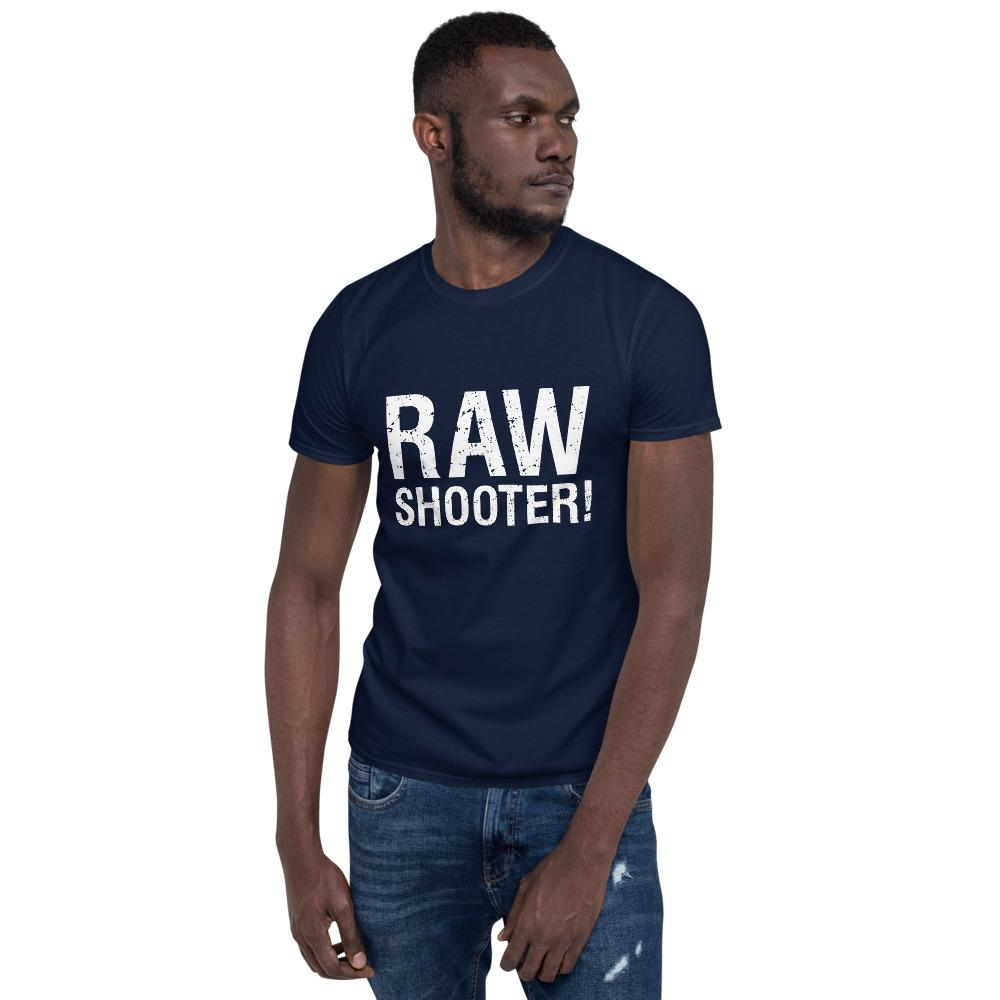 Fotografie cadeau: T-shirt met korte mouwen bedrukt met tekst RAW shooter blauw