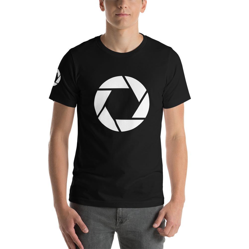 Fotografie cadeau: T-shirt met korte mouwen met camera sluiter symbool