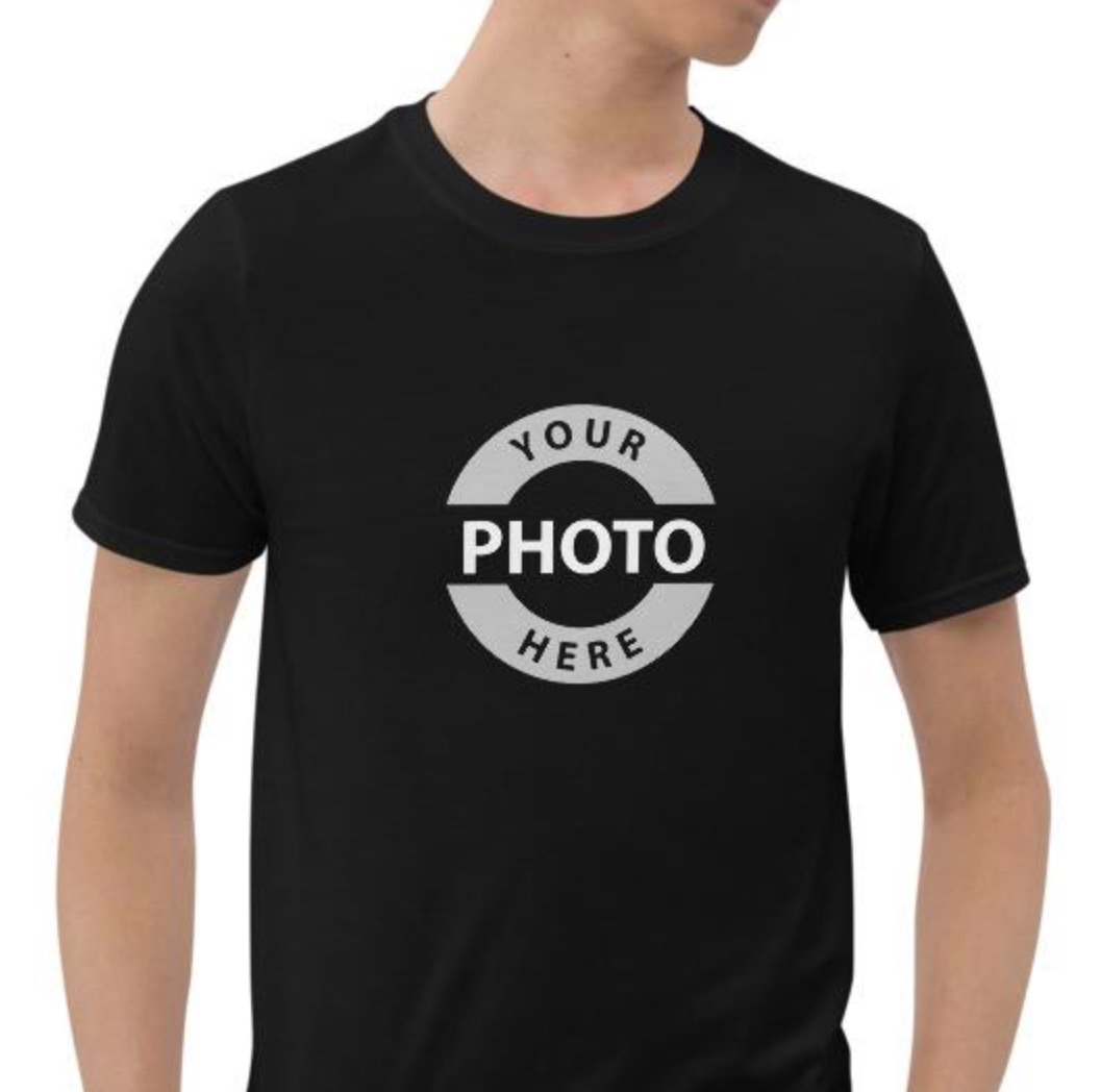 Fotografie cadeau: T-shirt met korte mouwen bedrukt met Your Photo here...