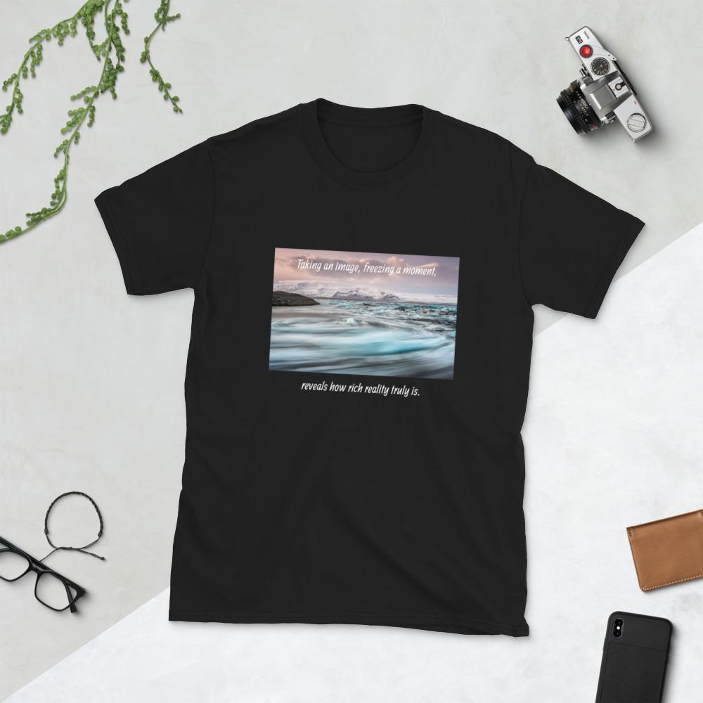 Fotografie cadeau: T-shirt met korte mouwen met landschapsfoto en tekst Taking an Image ...